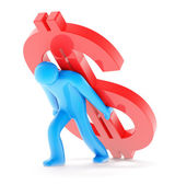 Man with dollar sign on white — Stock Photo