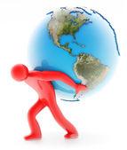 男子举行地球上白 — 图库照片