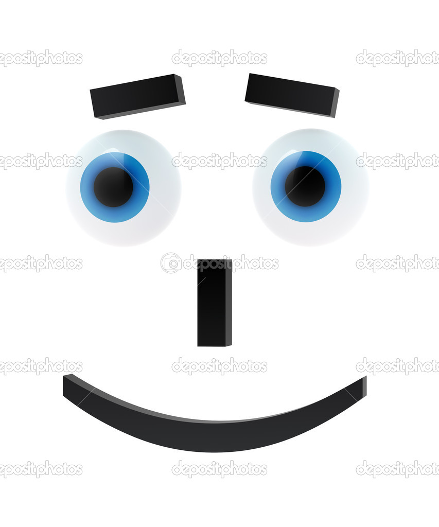 Cheerful emoticon with blue eyes on white — Stock Photo #6394153