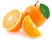 Whole orange, half of orange and orange segment. — Stock Photo