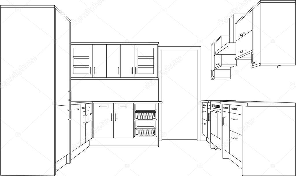 Architecture cuisine dessin image vectorielle theohrm 6440945 - Dessin cuisine 3d ...