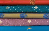 Stack of Sari Fabric — Stock Photo