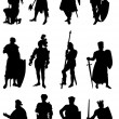 12 Knight Silhouettes — Stock Vector