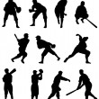 Baseball Player Silhouette – Set One — Stock Vector