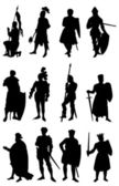 12 Knight Silhouettes — Stockvektor
