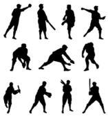 Baseball Player Silhouette – Set Two — Stock Vector