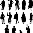 Set of Fourteen Knight and Medieval Figure Silhouettes - Stock Vector