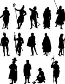 Set of Fourteen Knight and Medieval Figure Silhouettes — 图库矢量图片