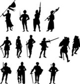 Fourteen Knight and Medieval Figure Silhouettes - Set Two — Stock Vector
