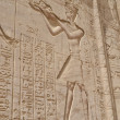 Hieroglyphic carvings in an Egyptian temple wall — ストック写真