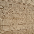 Hieroglyphic carvings in an Egyptian temple wall — 图库照片