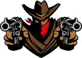 Silah nişan kovboy maskot — Stok Vektör