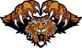 Tiger Mascot Pouncing Graphic Logo — Stock Vector