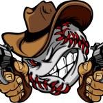 Baseball Shootout Cartoon Cowboy — Stock Vector