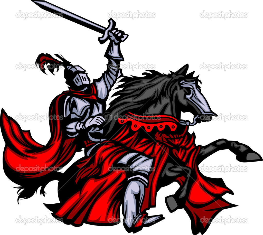 Knight with armour riding a horse and raising sword  Stock Vector #6404229