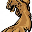 Cougar Mascot Body Prowling Graphic - Vettoriali Stock