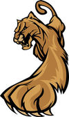 Cougar Mascot Body Prowling Graphic — Vector de stock
