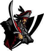 Pirate Mascot with Sword and Hat Graphic Illustration — Vecteur