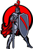 Knight Mascot with Sword and Shield — Vecteur