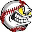 Stock Vector: Baseball Face Cartoon Ball Image