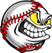 Baseball Face Cartoon Ball Image — Stock Vector