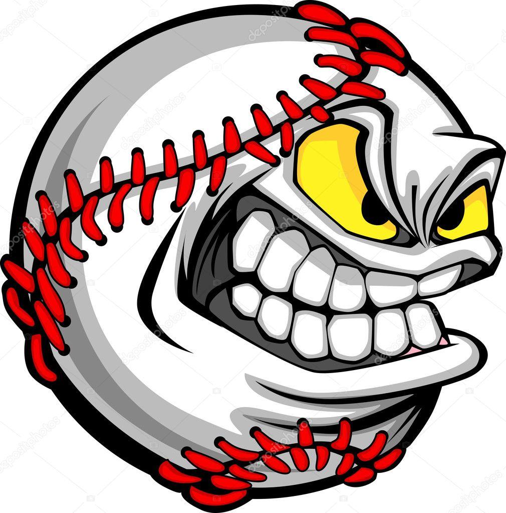Baseball Face Cartoon Ball Image Stock Vector Chromaco