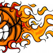 Flaming Basketball Face Vector Cartoon — Stock Vector