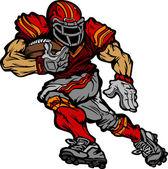 Football Player Runningback Vector Cartoon — Stock Vector