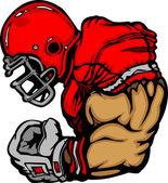 Football Player Lineman Vector Cartoon — Stock Vector