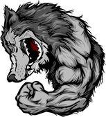 Wolf Mascot Flexing Arm Vector Cartoon — Stock Vector