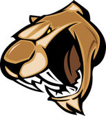 Cougar Mascot Head Vector Graphic — Vector de stock