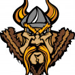 Viking Mascot Vector Cartoon with Horned Helmet - Stock Vector