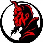 Дьявол демона талисман головы векторная иллюстрация — Cтоковый вектор