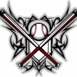 Baseball Softball Bats Tribal Graphic Vector Image - Stock Vector