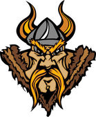Viking Mascot Vector Cartoon with Horned Helmet — Stockvector