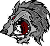 Wolf Mascot Vector Cartoon with Snarling Face — Stock Vector
