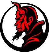 şeytan iblis maskot kafa illüstrasyon vektör — Stok Vektör