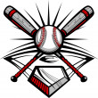 Baseball or Softball Crossed Bats with Ball Vector Image Template — Imagens vectoriais em stock