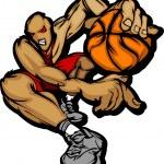 Basketball Player Cartoon Dribbling Basketball Vector Illustration — Stock Vector #6638181