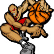 Basketball Player Cartoon Dribbling Basketball Vector Illustration — Stock Vector