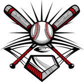 Baseball or Softball Crossed Bats with Ball Vector Image Template — Stockvector