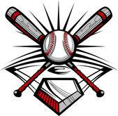 Baseball or Softball Crossed Bats with Ball Vector Image Template — Stock Vector