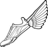 Track Shoe with Wing Vector Illustration — Stock vektor