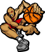 Basketball Player Cartoon Dribbling Basketball Vector Illustration — Stock Vector
