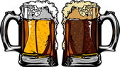 Beer or Root Beer Mugs Vector Images — Stock Vector