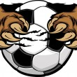 Stock Vector: Soccer Ball With Bear Claws Vector Image