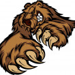 Grizzly Bear Mascot Body with Paws and Claws — 图库矢量图片