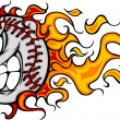 Stock Vector: Flaming Baseball or Softball Face Vector Cartoon
