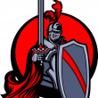 Medieval Knight with Sword and Shield Vector Mascot — Stockvectorbeeld