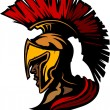 Roman Centurion Mascot Head with Helmet Vector Graphic - Stock Vector